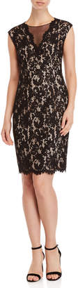 Vince Camuto Lace Illusion V-Neck Sheath Dress