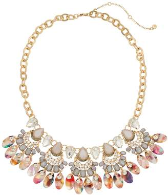 Gold Tone Simulated Stone Multi Colored Acetate Collar Necklace
