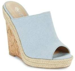 Charles by Charles David Balen Denim Wedge Mules