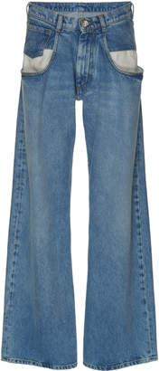 Maison Margiela Dropped Pocket High-Rise Wide-Leg Jeans
