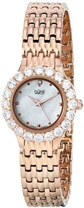 Burgi Women's Quartz Watch with Mother of Pearl Dial Analogue Display and Rose Gold Metal Bracelet BUR107RG