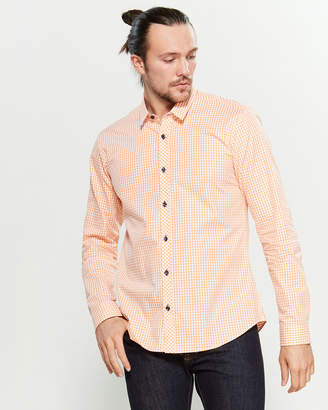 Jared Lang Orange Gingham Long Sleeve Slim Fit Sport Shirt