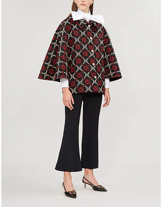 Gucci Logo wool-jacquard cape coat