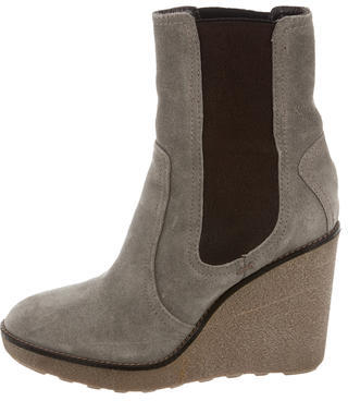 Moncler Moncler Suede Wedge Ankle Boots
