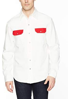 at Amazon.com · Calvin Klein Jeans Men s White Western Denim Shirt Contrast  Pockets a06bb75e2dc6