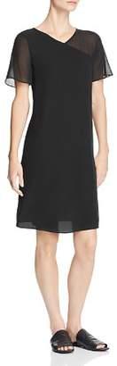 Eileen Fisher Sheer-Detail Silk V-Neck Dress