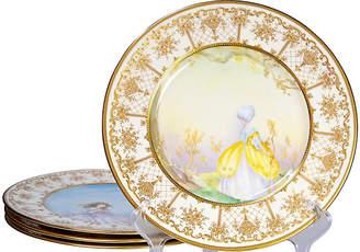 One Kings Lane Vintage Painted Royal Doulton Plates - Set of 4 - Portfolio No.6