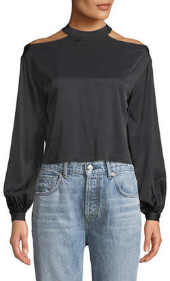 Marled by Olivia Culpo Cropped Blouson-Sleeve Blouse with Cutout Shoulders