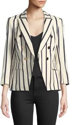 Veronica Beard Empire Striped One-Button Dickey Jacket