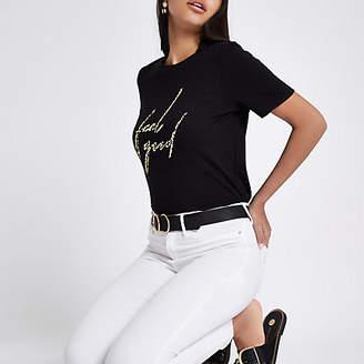 River Island Black 'feel good' leopard print T-shirt