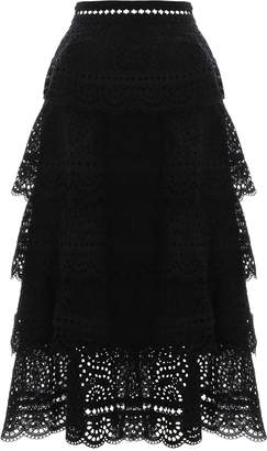 Zimmermann Tali Tiered Swirl Long Skirt