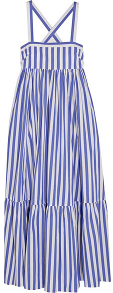J.Crew - Thomas Mason Honduras Striped Cotton-poplin Maxi Dress - Blue