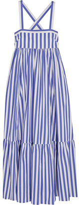 J.Crew - Thomas Mason Honduras Striped Cotton-poplin Maxi Dress - Blue $300 thestylecure.com