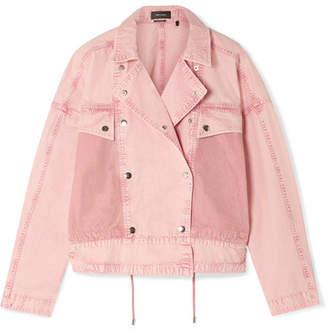 Isabel Marant Thalia Mesh-paneled Denim Jacket - Pastel pink