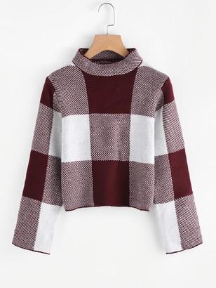 Shein High Neck Gingham Crop Sweater