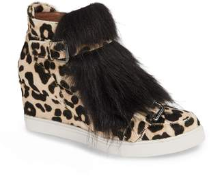 Linea Paolo Fifi Genuine Calf Hair & Faux Fur Wedge Sneaker