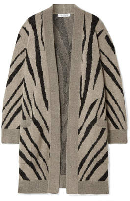 Max Mara Carlo Oversized Zebra-intarsia Knitted Cardigan - Mushroom