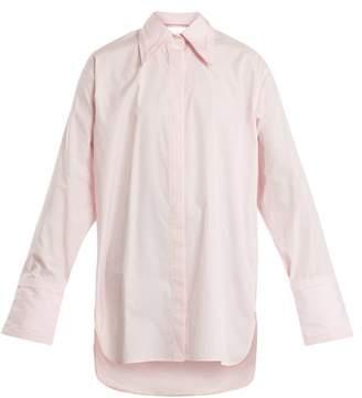 Helmut Lang Cut Out Detail Oversized Cotton Shirt - Womens - Light Pink
