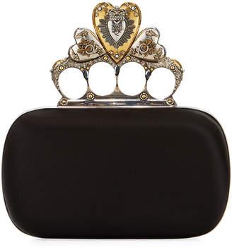 Alexander McQueen Heart Knuckle Short Box Clutch Bag, Black