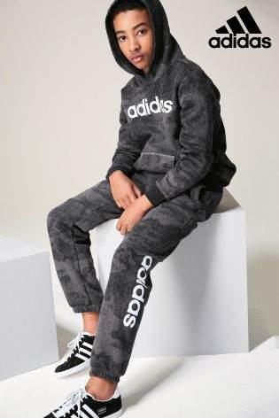 Boys adidas Camo Linear Logo Jogger - Black