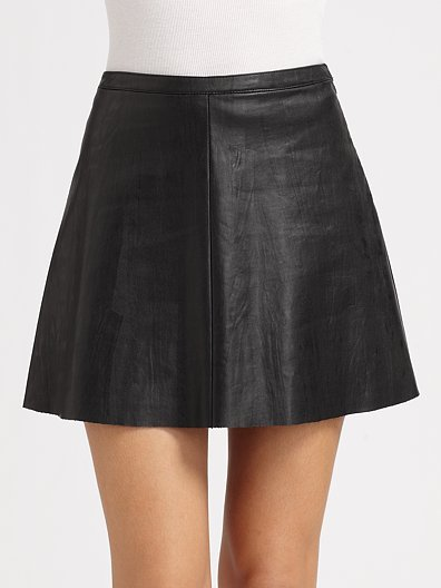 BCBGMAXAZRIA Flared Faux Leather Skirt