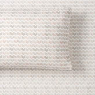 Pottery Barn Teen Chevron Geo Organic Sheet Set, Extra Pillowcases, Set of 2, Nude Multi