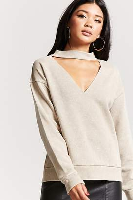 Forever 21 Oil Wash Choker Pullover Top