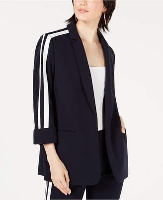 Bar III Varsity-Stripe Open-Front Jacket