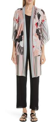 Fuzzi Mixed Print Long Tulle Cardigan