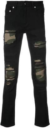 God's Masterful Children Distressed camouflage panel jeans