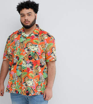 Asos DESIGN Plus oversized tropical postcard printed shirt in red with revere collar