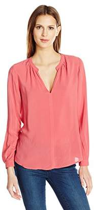 Velvet by Graham & Spencer Women's Challis Split Neck Blouse