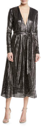 Sally Lapointe Long-Sleeve Sequined Tie-Waist Dress