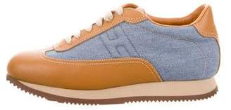 Hermes Leather-Trimmed Quick Sneakers