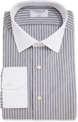 Lorenzo Uomo Men's Stripe Dress Shirt with White Collar/Cuffs
