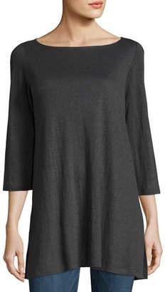 Eileen Fisher 3/4-Sleeve Organic Linen Jersey Tunic, Petite