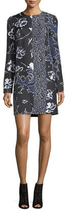 Michael Kors Patchwork Long-Sleeve Shift Dress