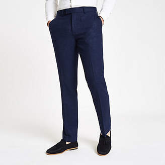River Island Farah blue wool skinny suit trousers