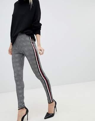 Asos DESIGN Premium Leggings In Check With Side Stripe