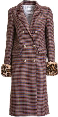 Essentiel Antwerp Light Brown Checked Coat With Removable Cuff In Fake Fur
