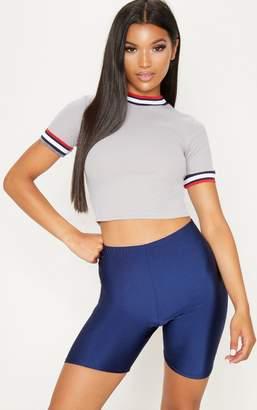 PrettyLittleThing Grey Rib Sport Trim T Shirt