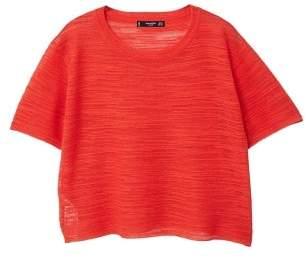 MANGO Slub-cotton top