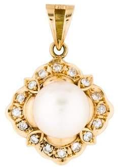 14K Pearl & Diamond Pendant
