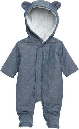 Magnetic Me Quilted Chambray Hooded Footie