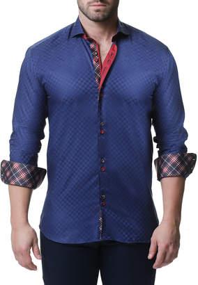 Pan Am Maceoo Shaped-Fit Mini Panam Square Sport Shirt, Navy