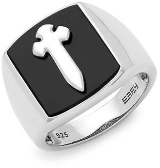 Effy Silver Black Onyx Cross Ring