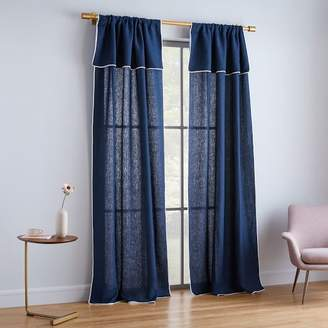 west elm Belgian Flax Linen Piped Border Curtain - Midnight