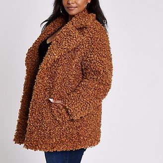 River Island Plus brown faux fur coat