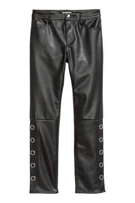 H&M Faux Leather Pants - Black - Women