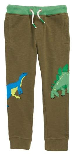 Mini Boden Dinosaur Applique Jogger Sweatpants